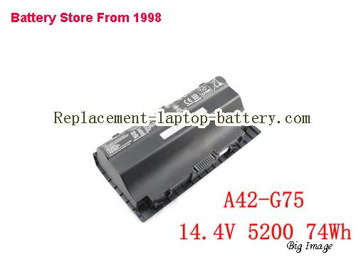 ASUS A42-G75 Battery 5200mAh, 74Wh  Black