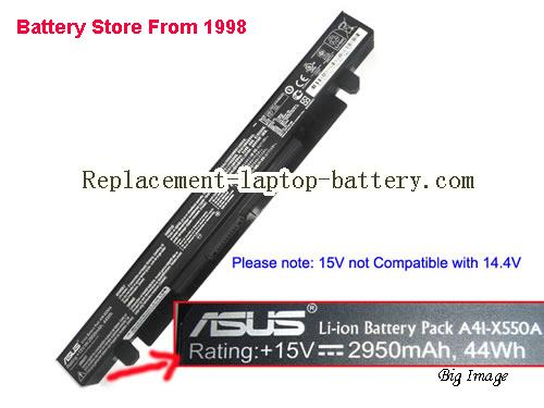 ASUS K550VX6300-154ASCA2X10 Battery 2950mAh, 44Wh  Black