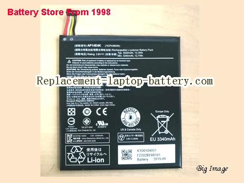 ACER Iconia One7 B1-750 Battery 3520mAh, 13.3Wh  Black