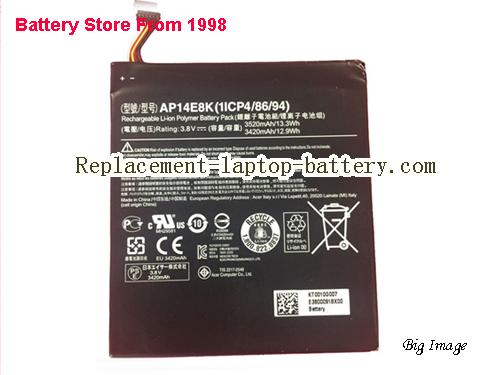 ACER Iconia One 7 B1750 Battery 3520mAh, 13.3Wh  Black