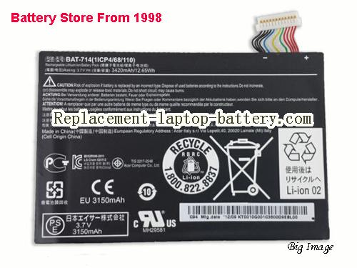 Battery for Acer Iconia Tab A110 Tablet Battery BAT-714 KT0010G001