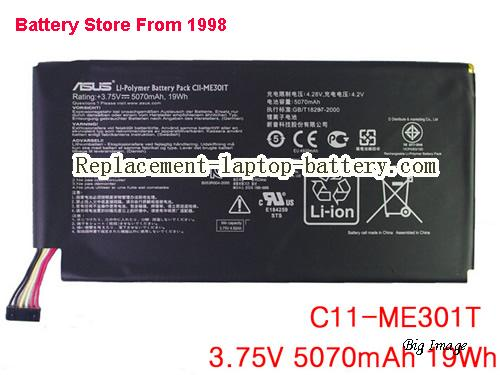 ASUS C11-ME301T Battery 5070mAh, 19Wh  Black