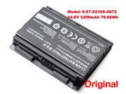 Genuine CLEVO 6-87-X510S-4j72 Battery Li-ion 14.8V 5200mAh, 76.96Wh  Black