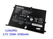 Genuine LENOVO L12M2P01 Battery Li-ion 3.75V 6700mAh, 25Wh  Black